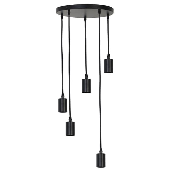 Pendel Hanglamp Brandon - Mat Zwart - 5L - Ø35 x 117