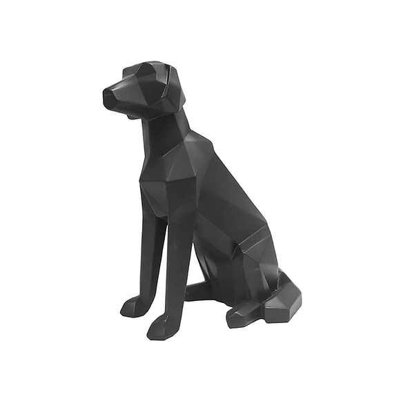 Zwart Ornament Origami Dog - Sitting polyresin Mat Zwart - 23