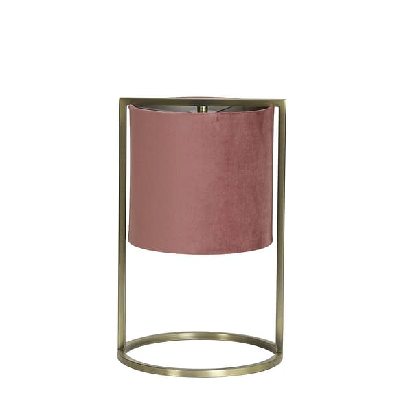 Tafellamp Ø22x35 cm SANTOS antiek brons+kap oud roze