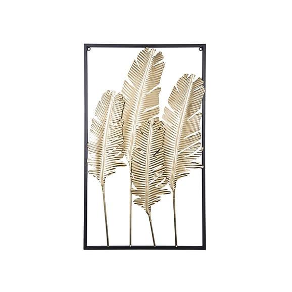 Goud Muurkunst Feathers - IJzer