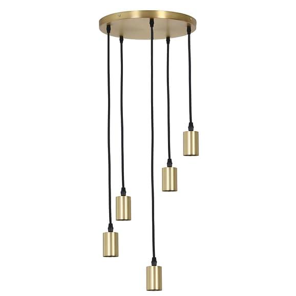 Pendel Hanglamp Brandon - Antiek Brons - 5L - Ø35 x 117