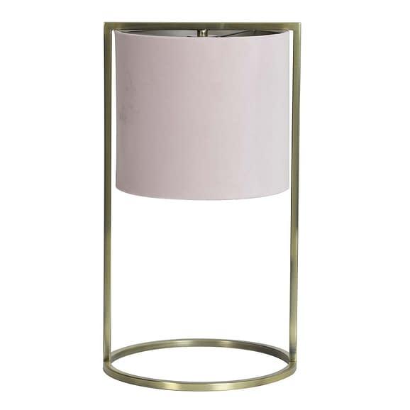 Tafellamp Ø25x45 cm SANTOS antiek brons+kap licht roze
