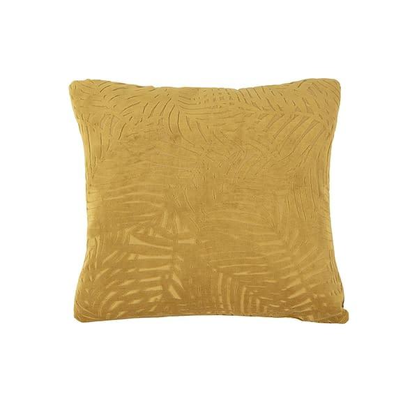 Geel Kussen Palm Leaves - Velvet Mosterdgeel - 45x45cm