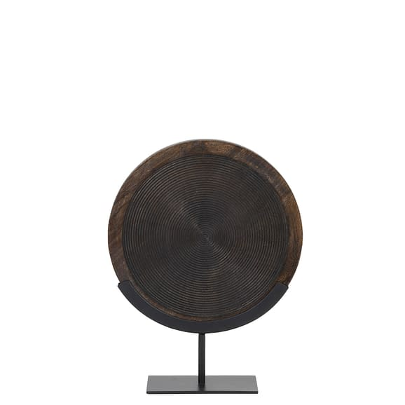 Ornament op voet 35x12x47 cm KAMUDI hout bruin-mat zwart