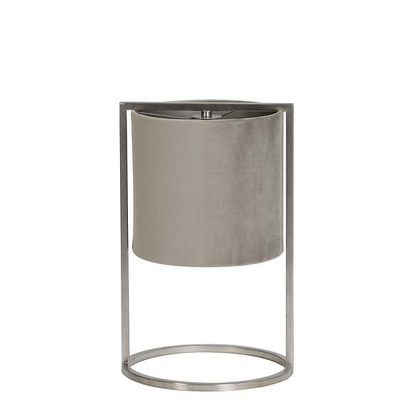 Tafellamp Ø22x35 cm SANTOS nikkel+kap grijs-taupe