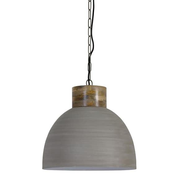 Hanglamp SAMANA - Beton-Wit Met Houten Kop