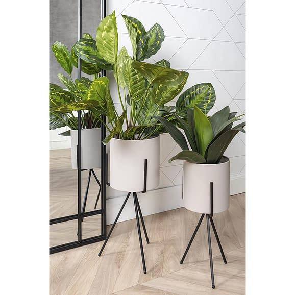 - Plant pot set Pedestal XL iron matt warm grey