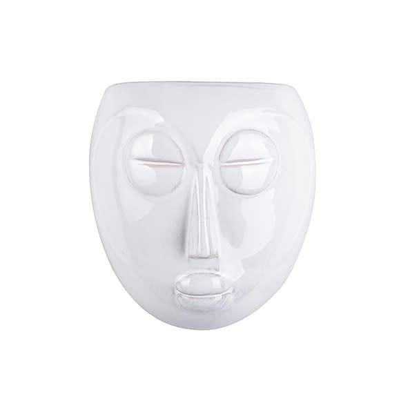 Wit Muur plantenpot Mask - Glazuur Wit - 16