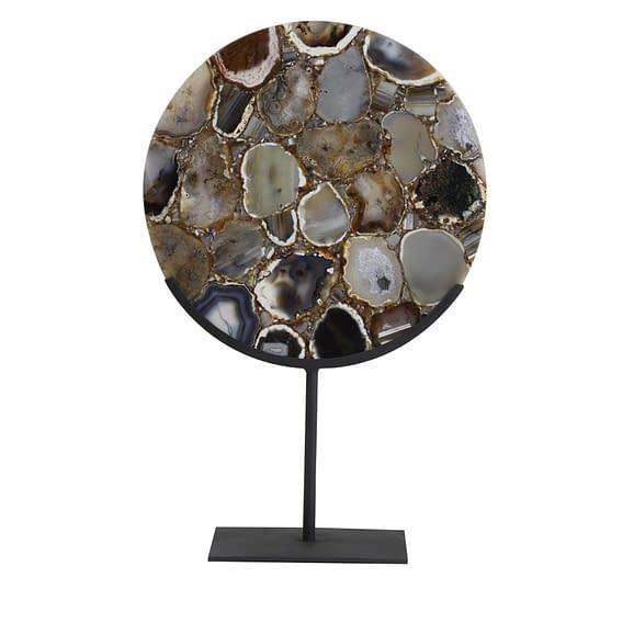 Ornament op voet 35x12x50 cm GOUYA agaat+mat zwart