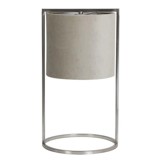 Tafellamp Ø25x45 cm SANTOS nikkel+kap grijs-taupe