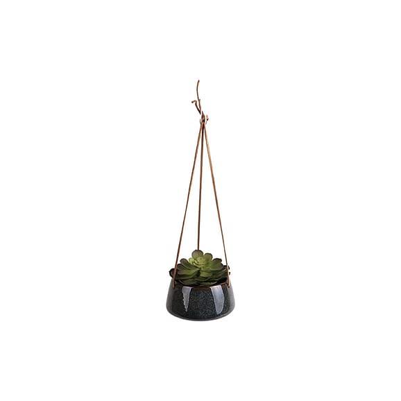 Groen Hangende plantenpot Unique - Glazuur Groen - 16x8