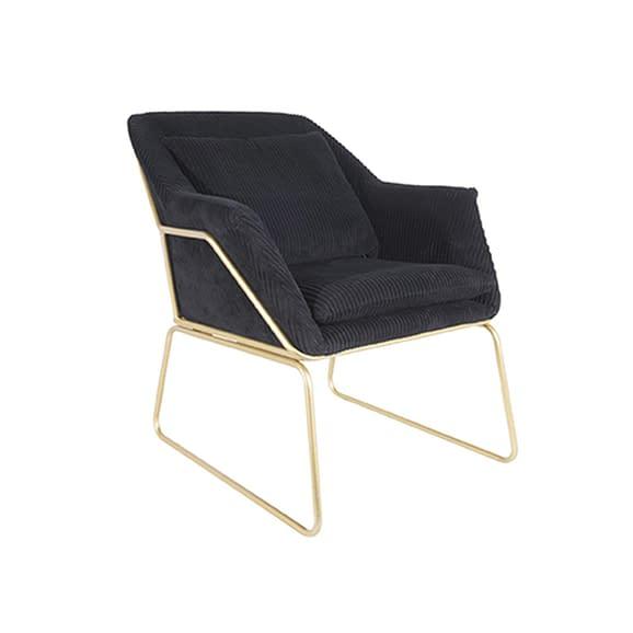 Zwart Relaxstoel Glam - Corduroy Zwart - 70x79