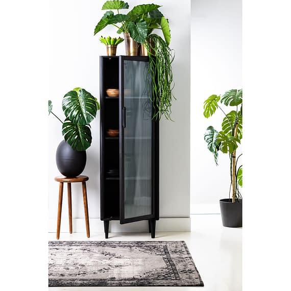 Light & Living - Wandkast Mocu - Glas/Hout Zwart - 58x40x180 cm