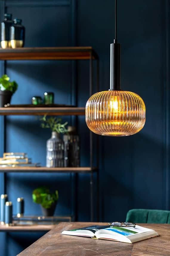 light & living hanglamp zwart ribbelglas