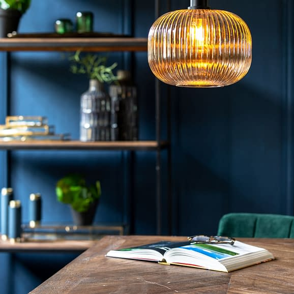 light & living hanglamp zwart ribbelglas