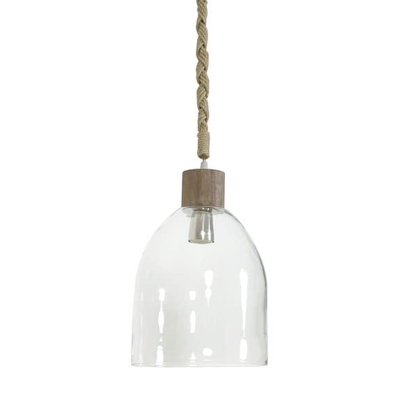 Hanglamp ZAYA - glas met houten kop