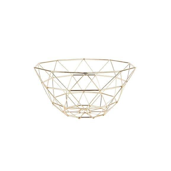 Goud Fruitschaal Diamond Cut - IJzer Verguld - 30x15cm