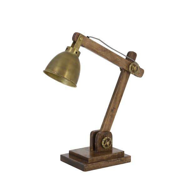 Bureaulamp ELMER - Hout Bruin + Antiek-Brons - L