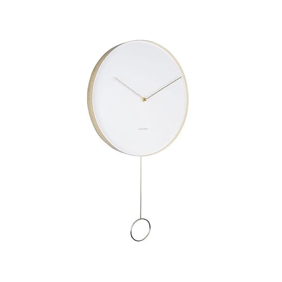 Karlsson - Wandklok Pendulum - Metaal Wit - Ø34cm