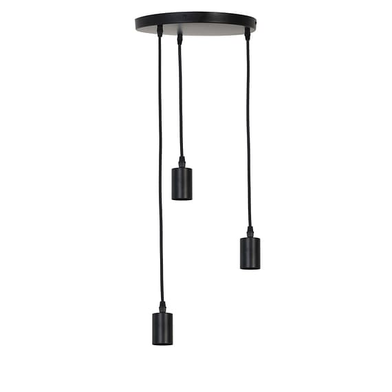 Pendel Hanglamp Brandon - Mat Zwart - 3L - Ø30 x 117