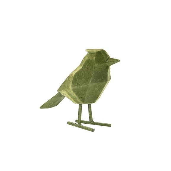 Groen Ornament Bird - Polyresin Fluweel Donker Groen - Large - 18