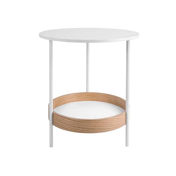 Wit Side table Dual - Staal met Wit fineer top - 48x51