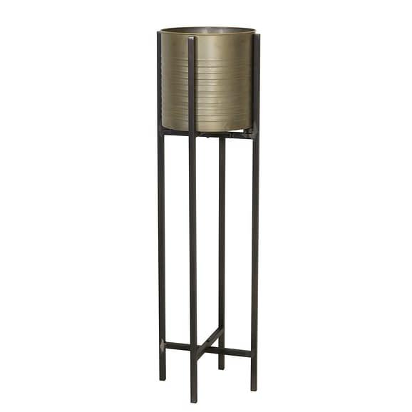 Bloempot deco CAKSI op standaard - tin brons - L