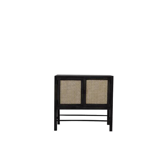 Wandkast Nipas - Zwart hout/Rotan Naturel - 88 x 40 x 84 cm