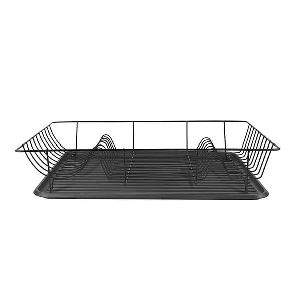 Zwart Afdruiprek Linea Zwart met Mat Zwarte tray - 49x32x9