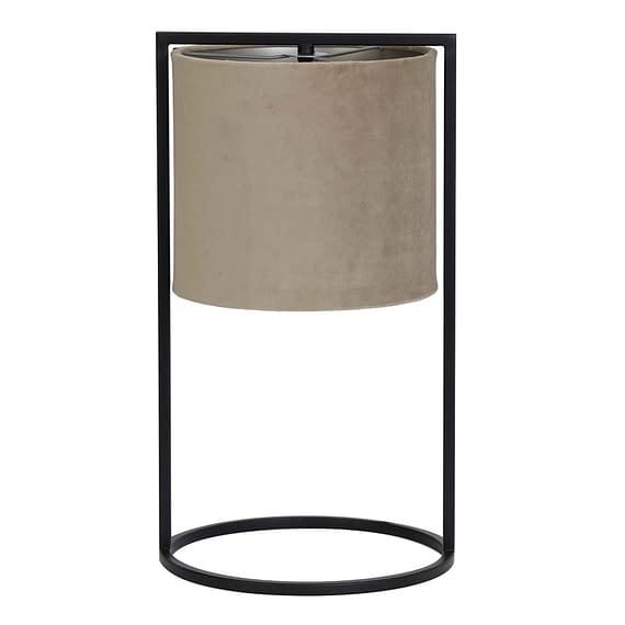 Tafellamp Ø25x45 cm SANTOS mat zwart+kap licht bruin