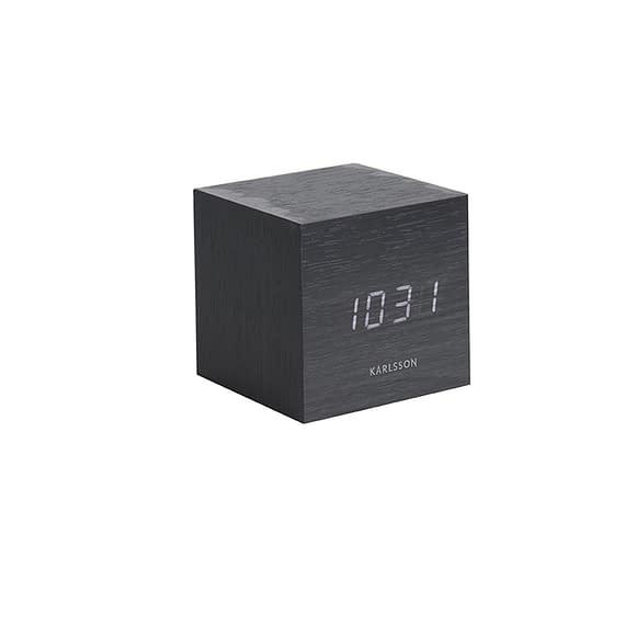 Karlsson - Wekker Mini Cube - Zwart fineer