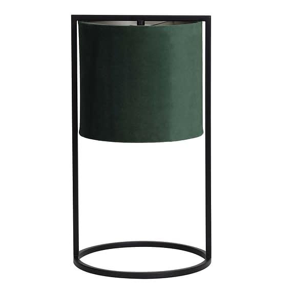 Tafellamp Ø25x45 cm SANTOS mat zwart+kap donker groen
