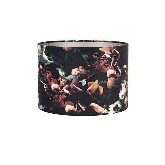 Kap cilinder 30-30-21 cm VELOURS hortensia zwart
