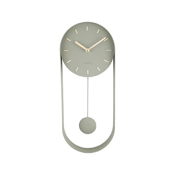 Karlsson - Wandklok Pendulum Charm - Staal Jungle Groen - 50x20x4