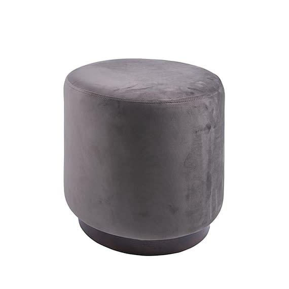 Bruin Poef W. Wood Rim - Velvet Donker Taupe - Medium - 36x38cm