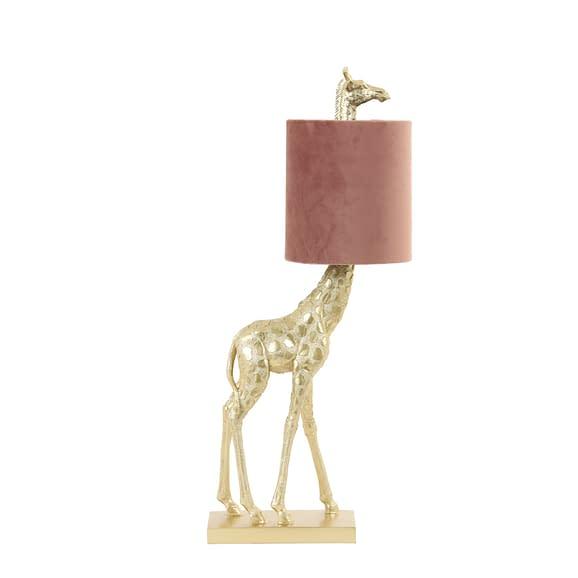 Light & Living Tafellamp Giraffe - Goud/Oud Roze - 20 x 28 x 68 cm