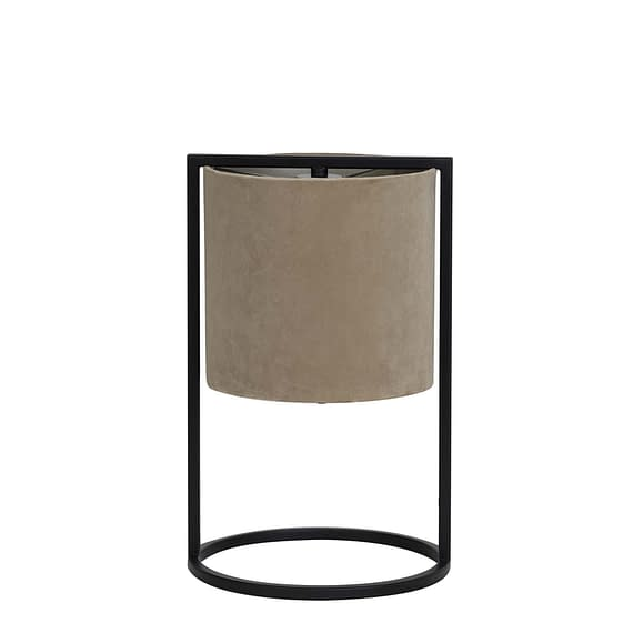 Tafellamp Ø22x35 cm SANTOS mat zwart+kap licht bruin