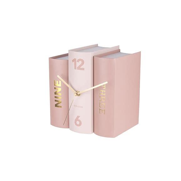 Roze Tafelklok Book - Pink Paper - 20x15x20cm