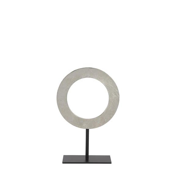 Ornament op voet Waiwo - Ruw Nikkel/Zwart - Ø25x38 cm