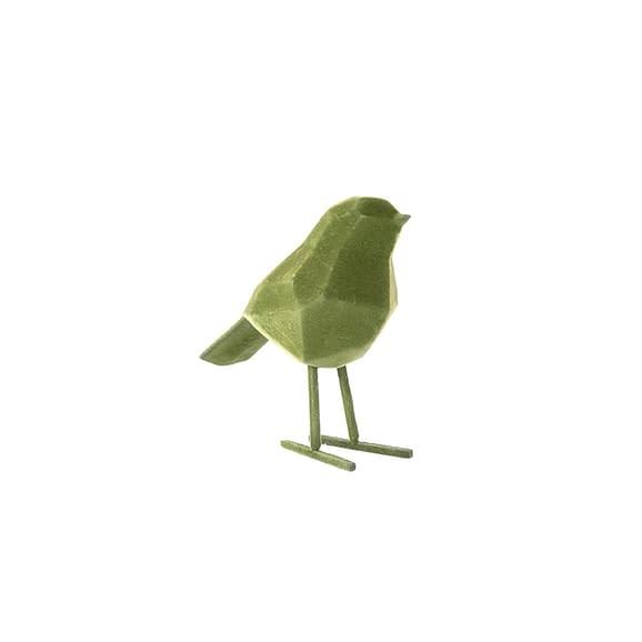 Groen Ornament Bird - Polyresin Fluweel Donker Groen - Small - 13