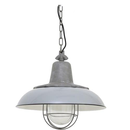 GROTE INDUSTRIELE LAMP IN GRIJS EMAILLE. KOP HEEFT DE LOOK EN FEEL VAN GIETIJZER. AFM: 50X46