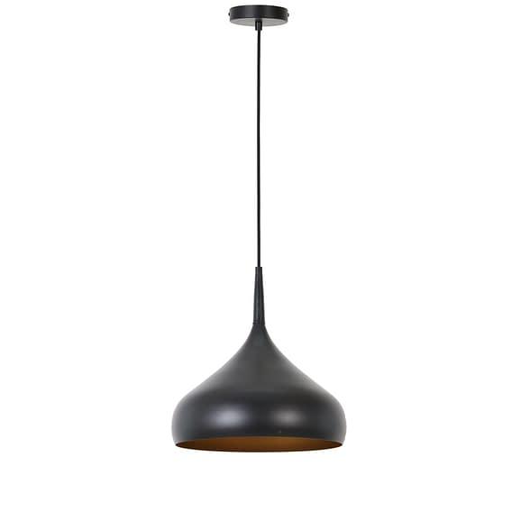 Hanglamp Igram - Mat Zwart/Goud - Ø33x36 cm