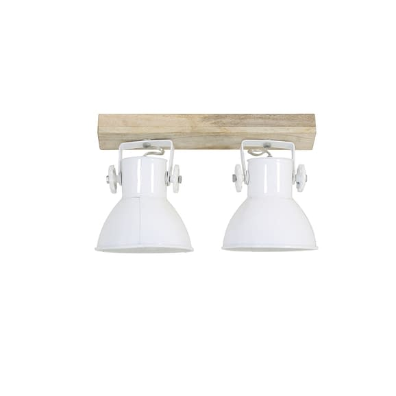 Hang-/wandlamp ELAY - Hout Naturel + Wit - 2-Lichtpunten