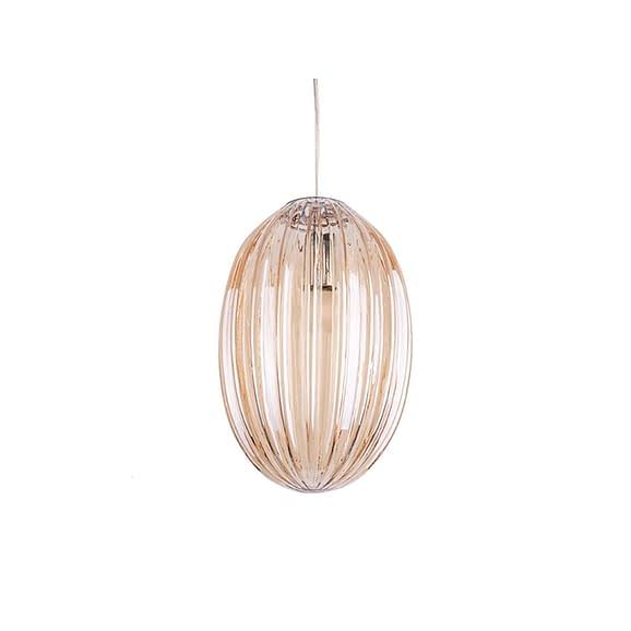 Bruin Hanglamp Smart - Ovaal Glas Amber Bruin - 20x30cm