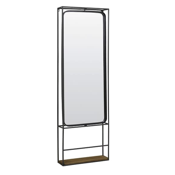Wandrek met spiegel 53x15x165 cm DELINE zwart+hout