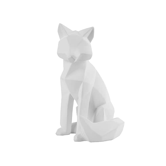 Wit Ornament Origami Fox - Polyresin Mat Wit - Large - 16