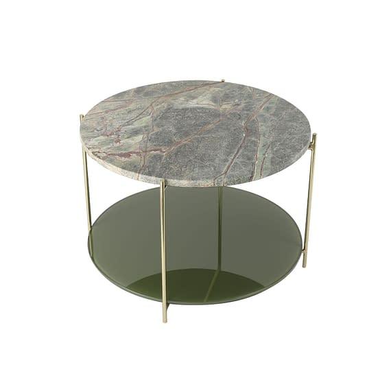 Light & Living - Ronde Salontafel Besut - Marmer Groen/Glas Goud - Ø67x45 cm