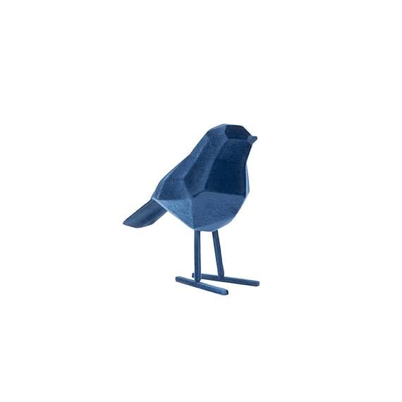 Blauw Ornament Bird - Polyresin Fluweel Donkerblauw - Small - 13