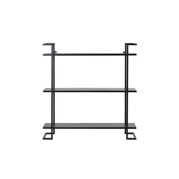 Open Wandkast Naya - Zwart/Zwart Hout - 80 x 18 x 80 cm