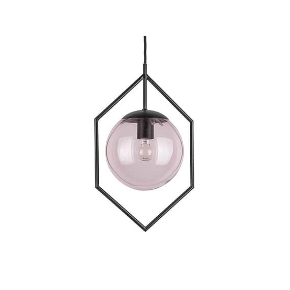 Roze Hanglamp Diamond Framed - Roze Glas - 25x20x42cm